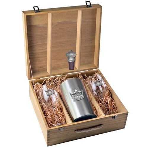 Amazon.com: 1 juego de cajas de vino de corona de peltre ...