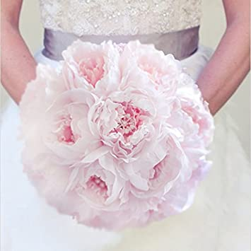 Amazon.com: New Simple style bridal pink bouquet peony brooch pearl ...