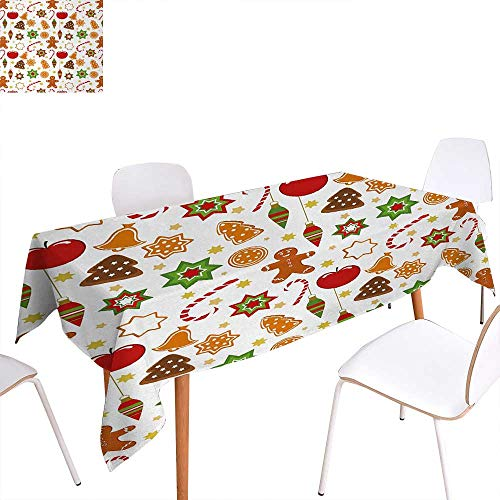 (Warm Family Gingerbread Man Washable Tablecloth Festive Christmas Icons Graphic Pattern Star Figures Cookies Apples Bells Waterproof Tablecloths 60