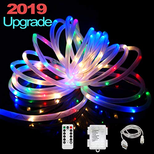 Diy Halloween Pvc Fence (IELECMG LED Rope Lights,Battery Powered String Lights 33FT 100LEDs Fairy Lights with Remote,USB Rope String Light 8 Modes Waterproof Color Changing Tube Lights Dimmable for Patio Christmas Fence)