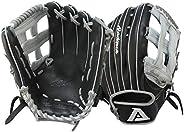 Akadema Prosoft Elite Series Baseball Outfielders Gloves, Black/Silver, Left Hand