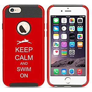 Apple iPhone 5c Shockproof Impact Hard Case Cover Keep Calm And Swim On Swimmer (Red)