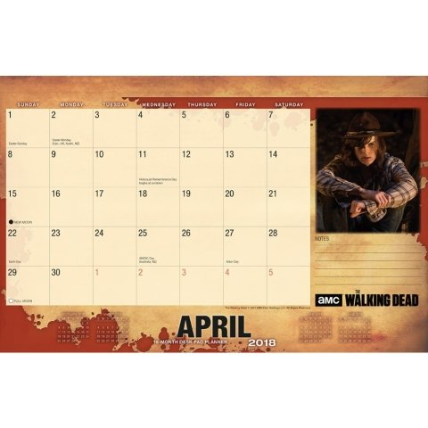 Walking Dead Blotter 2018 Desk Pad Calendar Photo #2
