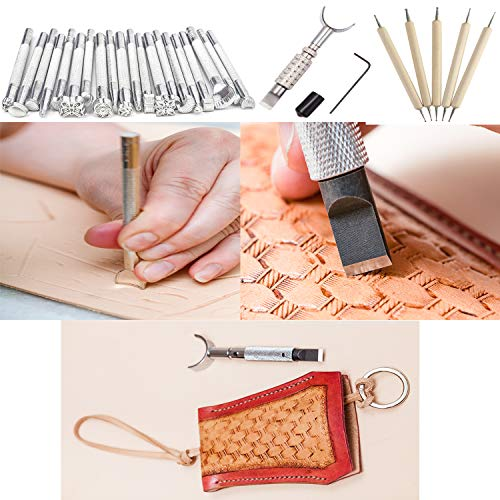 Dorhui 372 Pieces Leather Crafting Tools Kit, Leather Working Tools and Supplies, Leather Craft Stamping Tools, Prong Punch, Hole Hollow Punch, Matting Cut for DIY Leather Artworks by Dorhui (Image #1)