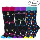 3 Pairs Compression Socks for Women Men 15-20 mmHg Compression Crew Socks for Nurses Running Crossfit Travel Maternity Pregnancy Athletic