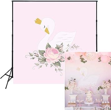 Muzi 150x150cm Weißer Schwan Rosa Blumen Geburtstag Kamera