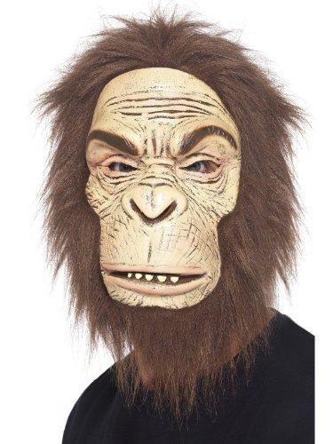 Smiffy's Men's Ape Mask Foam Latex with Hair, Brown, One Size (Foam Latex Mask)