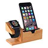 Apple Watch Stand,Hunter-K Bamboo Wood Charging Station with 3 USB Ports for iPhone 7/7Plus/6s/6/Plus/5s, iWatch 38mm/42mm, Samsung ,Cell Phone& Most Smartphones android
