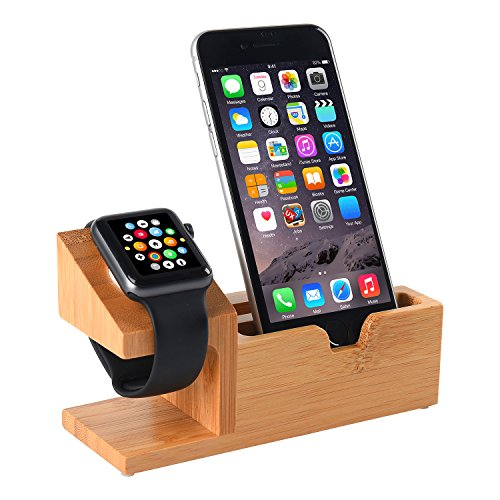 Hunter-K Apple Watch Stand, Bamboo Wood Charging Station With 3 USB Ports For Iphone 7/7Plus/6s/6/Plus/5s, Iwatch 38mm/42mm, Samsung,Cell Phone& Most Smartphones Android