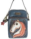 Chala Crossbody Cell Phone Purse - Women PU Leather Multicolor Handbag with Adjustable Strap - Horse - Navy