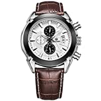 Megir Army Analog Chronograph Luminous Leather Sport Quartz Wrist Watches for men Calendar Date Brown