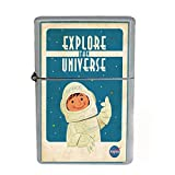 Wind Proof Dual Torch Refillable Lighter Vintage Poster D-207 Explore The Universe Nasa Space