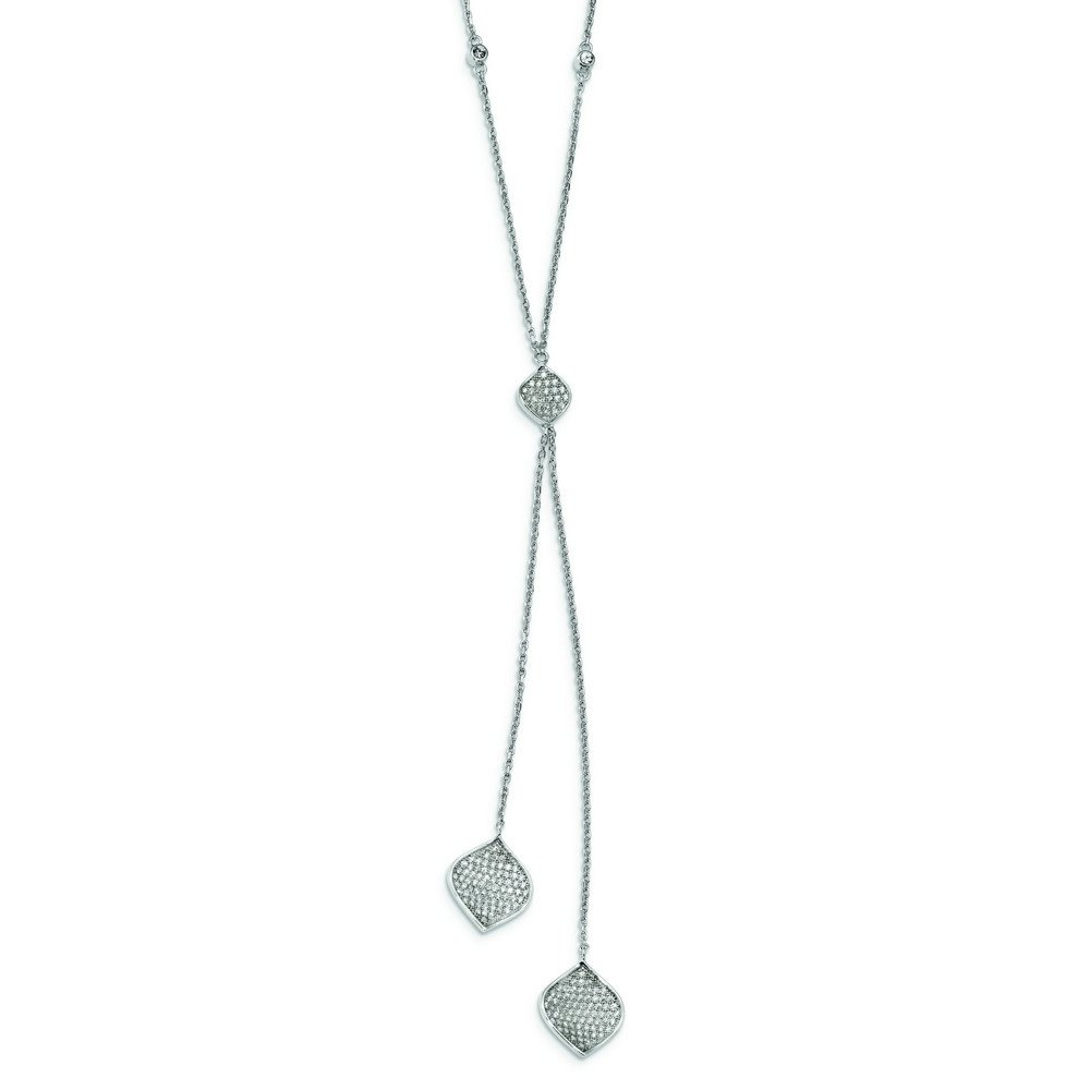 Sterling Silver Rhodium-plated Micro Pavé Cubic Zirconia With 2inch Ext. Y-necklace - 16 Inch