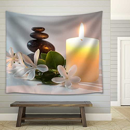Tiare Flowers Candle and Black Stone Spa Fabric Wall