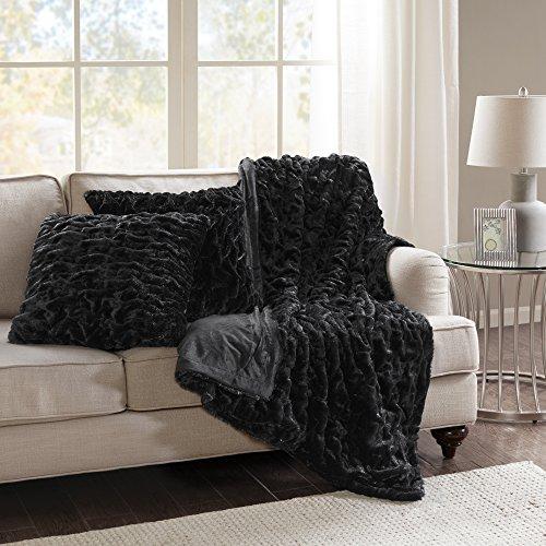 Black Faux Fur Throw - 6