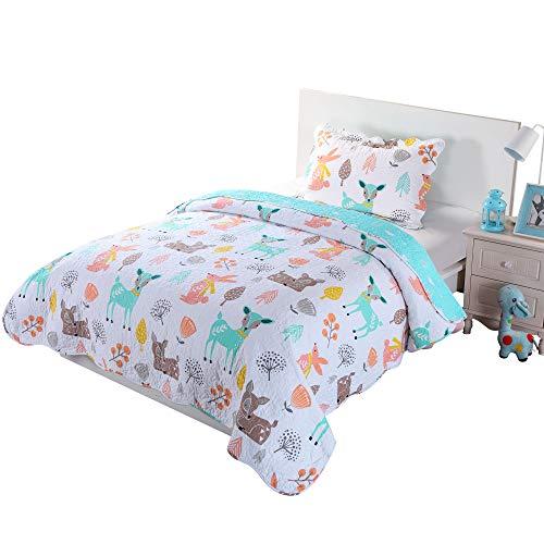 100% Cotton 2 Piece Kids Quilt Bedspread Comforter Set Throw Blanket for Teens Boys Girls Kids Beds Bedding Coverlet Teal Blue Forest Deer (Twin)