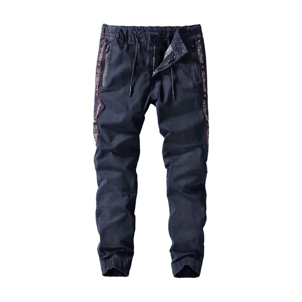 Men's Expandable-Waist Drawstring Tooling Pants Letter Print Multi-Pockets Closed-Bottom Trousers (32, Dark Blue)
