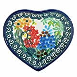 Polish Pottery 3'' Heart Dish Handmade Poland Signature Limited Edition Pattern B64-2021