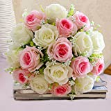 Artificial Silk Rose Flowers Romantic Artificial Flowers Bouquet Wedding Party Home Decor Pack of 18 (white+pink)