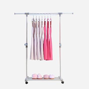 Rail télescopique de vêtements d'alliage d'aluminium, support simple de séchage de Rod, support mobile de séchage, support de chaussure de stockage de simple-couche, L85-155cm W44cm H90-160cm, 80cm de