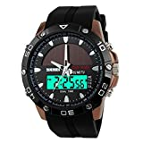 SKMEI Men's Solar Power Military Dual Time Zones Slide Rule Silicone Band Sports Wrist Watch