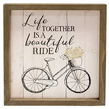 Wooden Framed Sign with the Phrase - Life Together is a Beautiful Ride. in Black Lettering on a Wooden Background. a Brown Wooden Frame Surrounds this 8 Inches Square Sign - Farmhouse Rustic Home Decor