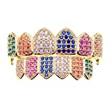 18K Gold PVD Plated Rainbow CZ Fang Grillz Set Multi-Color CZ Bling Cubic Zirconia Gold Teeth Grills Hip Hop