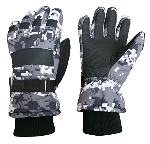 - N'Ice Caps Kids Cold Weather Waterproof Camo Print Thinsulate Ski Gloves (Black/Grey Digital Camo, 10-12 Years)
