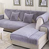 AFAHXX Plush Thicken Sofa Cover Slipcover,Non-slip L Slipcover Peninsula Modern Decorative Couch Covers Keep Warm-gray 70150cm(2859inch)