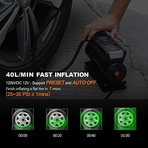 TACKLIFE Tire Inflator ACP1C, DC 12V Portable Air Compressor Pump, Digital Tire Pump with Gauge, LED Flashlight, 4 Nozzle Adaptors, and Extra Fuse - 2 Years Warranty by TACKLIFE (Image #1)