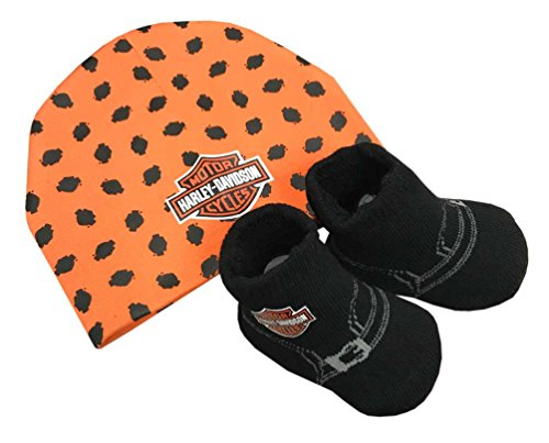 Harley-Davidson Baby Boys' Beanie & Biker Booties Set, Orange & Black 7050879