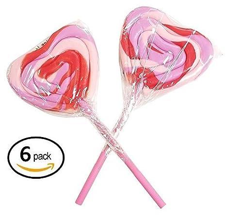 Forma de Corazón Lollipops Sucker 6 Count 3 inch Rosa y rojo ...