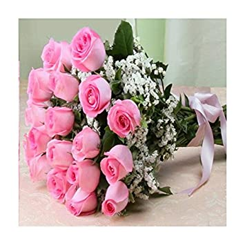 8349e1f49899 Stunning Twenty Pink Roses Bouquet - Same Day Delivery  Amazon.in  Home    Kitchen