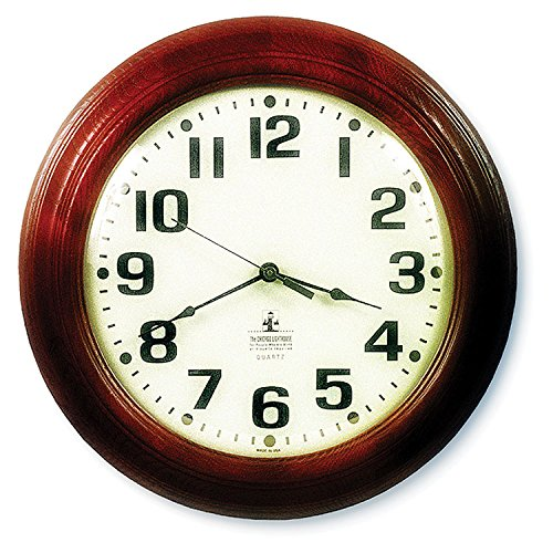 Mahogany Wood Frame Wall Clock (SKILCRAFT 6645-01-421-6904 Hardwood Wall Clock, 16-Inch Diameter,)