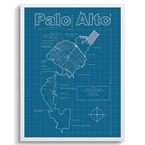 Palo Alto Map Palo Alto California Wall Art Map Blueprint ()