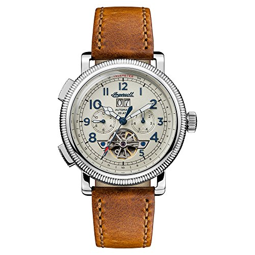 Ingersoll Men's Automatic Stainless Steel and Leather Casual Watch, Color:Brown (Model: I02601)