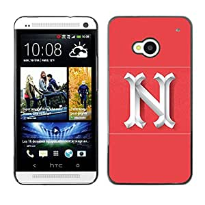 Planetar® ( N New York Letter Pink White Initial ) HTC One M7 Fundas Cover Cubre Hard Case Cover