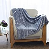 #3: Kanguru Luminous Microfiber Throw Blanket 50x60'': Glow In The Dark Constellation Blanket, Soft And Durable Polyester, Warm For All Seasons, Star Design Plush Blankie For Men, Women – Grey