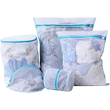 Heavy Duty Mesh Laundry Bag- Set of 5 Washing Bag With Zipper for Intimates Garment Delicate Bra Lingerie Underwear-Blue