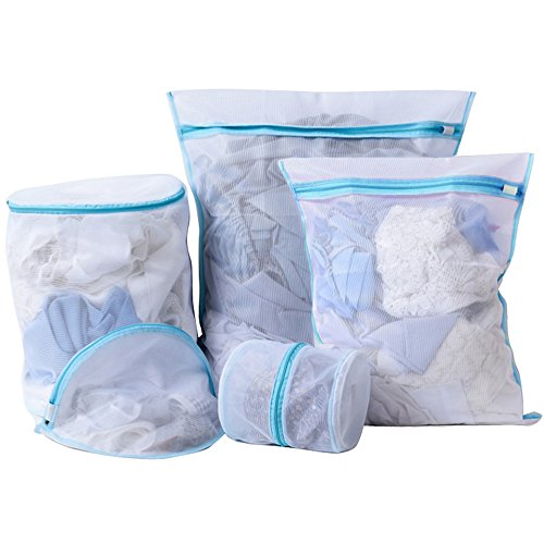 (FRMARCH Heavy Duty Mesh Laundry Bag- Set of 5 Washing Bag with Zipper for Intimates Garment Delicate Bra Lingerie Underwear-Blue)