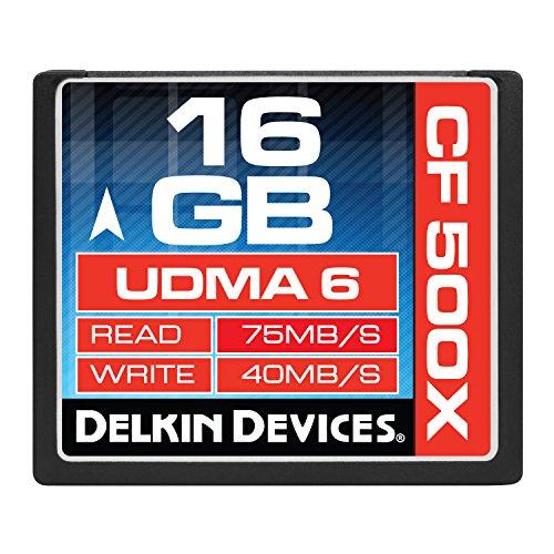 - Delkin DDCF500-16GB 16GB CF 500X Memory Card