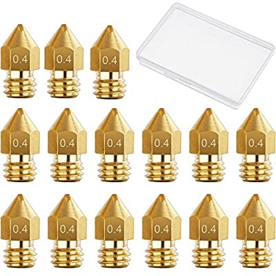 Hestya 15 Pieces 0.4 mm MK8 3D Printer Brass Extruder Nozzle Print Heads for Makerbot Creality CR-10 with Free Storage Box
