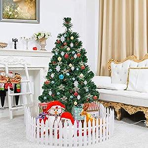 Goplus Artificial PVC Christmas Tree Pre-Lit Fiber Optic Tree 2
