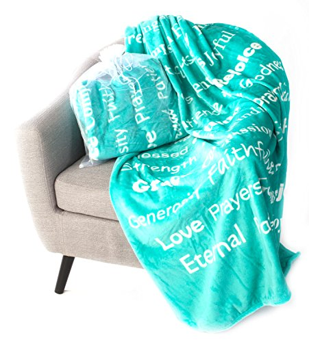 BlankieGram Faith Throw Blanket with Inspirational Thoughts and Prayers (Teal)