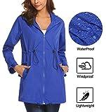 Mofavor Womens Rain Jacket Waterproof with Hood Lightweight Rain Trench Coat Long Sleeve Windbreaker for Ladies Blue L
