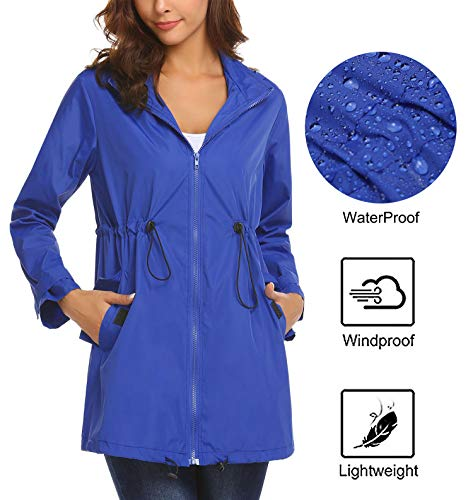 - Mofavor Women's Raincoat Durable Unisex Rain Poncho with Hat Hood for Outdoor Travel Blue XL
