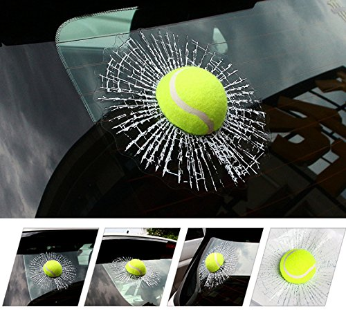 Yellow Tennis FineFun 3D Car Stickers Funny Auto Car Styling Ball Hits Car Body Window Sticker Self Adhesive