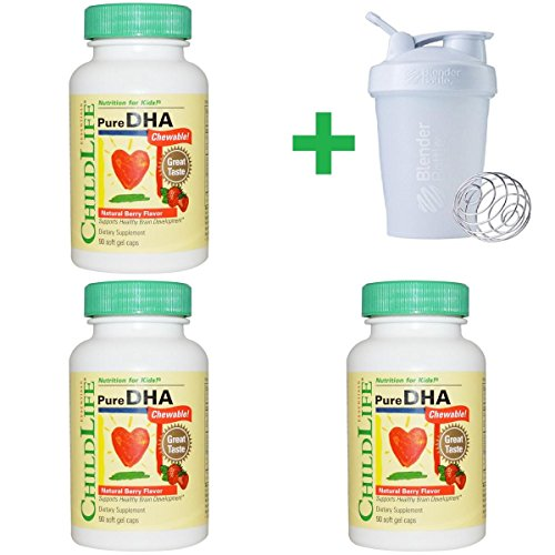 Price comparison product image ChildLife Natural Berry Flavor, Pure DHA Chewable, 90 Soft Gel Caps (3 PACKS) + Assorted Sundesa, BlenderBottle, Classic With Loop, 20 oz