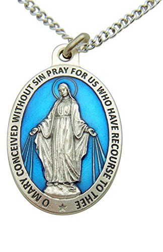 Westman Works Miraculous Medal Mary Large 1 1/2 Inch Pendant with 24 Inch Stainless Steel Chain