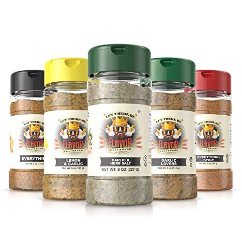 #1 Best-Selling 5oz. Flavor God Seasonings - Gluten Free, Low Sodium, Paleo, Vegan, No MSG( 5 BOTTLE COMBOS) (GARLIC HERB & HIMALAYAN SALT, 5 BOTTLE)